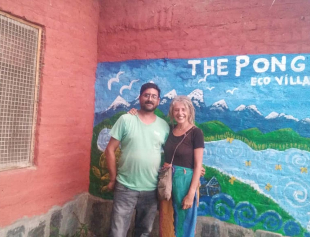 The Backpacker Rocio Perez, an artist from Peru at 'The Pong Eco Village'